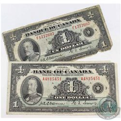1935 $1 Bank of Canada French and English Variety Notes. 2pcs