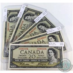 Lot of 5x 1954 $20 Bank of Canada Notes with Different Prefixes in VF-EF Condition. You will receive