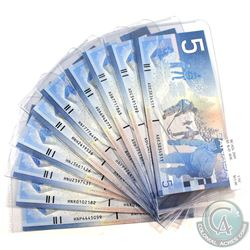 Lot of 10x 2001-2004 $5 Bank of Canada Notes with Different Prefixes in Uncirculated Condition. 10pc