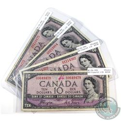 1954 $10 BC-32a Bank of Canada Coyne-Towers Devil's Face Notes in Fine or Very Fine Condition (Writi