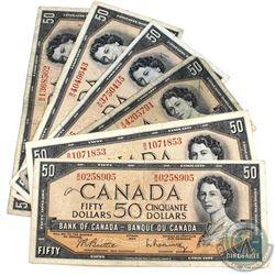 1954 $50 Bank of Canada Notes - 2x Beattie-Coyne & 4x Beattie-Rasminsky Signatures. 6pcs