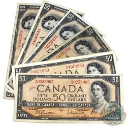 1954 $50 Bank of Canada Notes - 2x Beattie-Coyne & 4x Beattie-Rasminsky Signatures. 6pcs