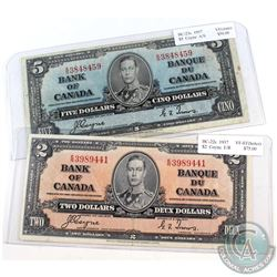 1937 $2 & $5 Bank of Canada Notes - BC-22c E/R VF-EF (Holes) & BC-23c A/S Very Fine (Stain). 2pcs