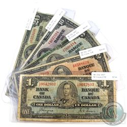 1937 $1 to $20 Bank of Canada Notes with Coyne-Towers Signatures in Average Circulated Condition. 5p