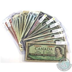 Lot of 1954-1974 $1, $2 & $10 Bank of Canada Notes. You will receive 4x $1 1954, 2x $1 1967, 1x $10