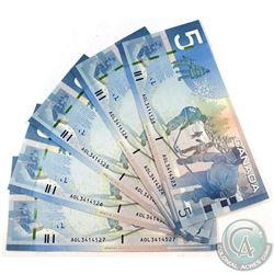2006 $5 Bank of Canada Notes with Jenkins-Dodge Signatures in Sequence - AOL3414523-27. 5pcs