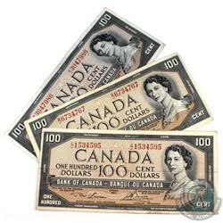 1954 $100 Bank of Canada Notes - All 3 Signature Combinations. 3pcs