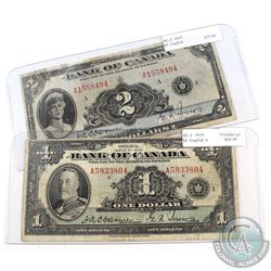 1935 $1 BC-1 & $2 BC-3 Bank of Canada Notes English Variety. Notes have some impairments. 2pcs