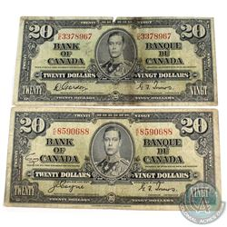 1937 $20 Bank of Canada Notes - With Coyne-Towers K/E and Gordon-Towers C/E Signatures. 2pcs