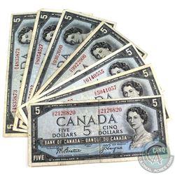 1954 $5 Bank of Canada Notes in Circulated Condition - 1x Beattie-Coyne, 1x Bouey-Rasminsky & 5x Bea