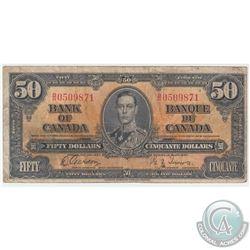 1937 $50 BC-26b, Bank of Canada, Gordon-Towers, B/H Prefix, Fine (Damaged)
