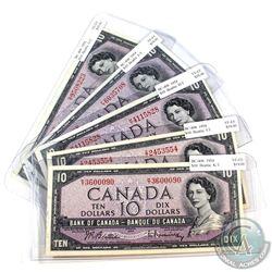 1954 $10 Bank of Canada Notes Beattie-Rasminsky Signatures All Different Prefixes in VF-EF. 5pcs
