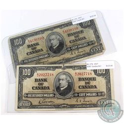 1937 $100 Bank of Canada Notes with Gordon-Towers & Coyne-Towers Signatures Prefix B/J. 2pcs