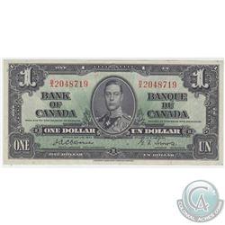 1937 $1 BC-21a, Bank of Canada, Osborne-Towers, B/A Prefix, VF-EF