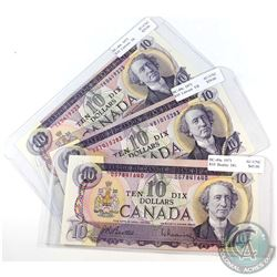 1971 $10 Bank of Canada Notes - 1x BC-49a Beattie-Rasminsky & 2x BC-49c Lawson-Bouey all Different P
