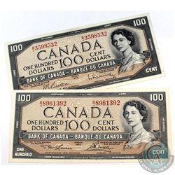1954 $100 Bank of Canada Notes - 1x Lawson-Bouey & 1x Beattie-Rasminsky with Prefixes B/J. 2pcs