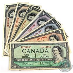 1954 $1-$100 Bank of Canada Full Signature Set of Beattie-Rasminsky Notes. 7pcs