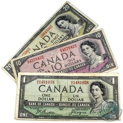 1954 $1, $10 & $20 Bank of Canada Devil's Face Notes - $1 Beattie-Coyne Prefix M/A, $10 Coyne-Towers
