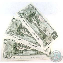 1979 $20 Bank of Canada Notes all in Sequence - 52611648264-66. 3pcs