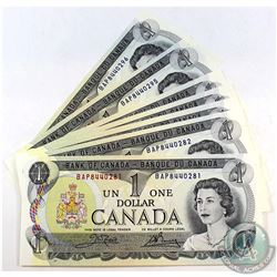 1973 $1 Bank of Canada Notes all in Sequence - BAP8440281-96. 16pcs
