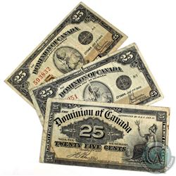 1x 1900 & 2x 1923 25c Dominion of Canada Shinplaster Notes. 3pcs
