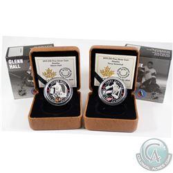 2015 Canada $10 NHL Goalies - Glenn Hall & Terry Sawchuk Fine Silver Coins. 2pcs (TAX Exempt)