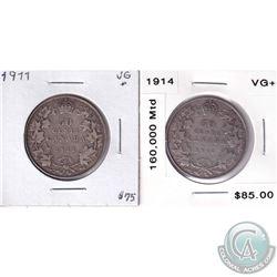 1911 & 1914 Canada 50-cent - Both VG+. 2pcs