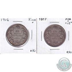1916 & 1917 Canada 50-cent - Both Fine+. 2pcs
