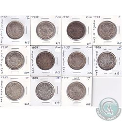 1937-1944 Canada 50-cent in Fine to Very Fine+. You will receive 1937, 4x 1938, 5x 1939 & 1944. 10pc