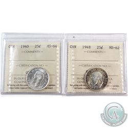 1940 Canada 25-cent ICCS Certified MS-64 & 1948 25-cent MS-62. 2pcs