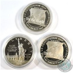 1986 USA Ellis Island & 2x 1987 Constitution 200th Anniversary Commemorative Silver Dollars in Capsu