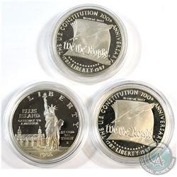 1986 USA Ellis Island & 2x 1987 Constitution 200th Anniversary Commemorative Silver Dollars in Capsu