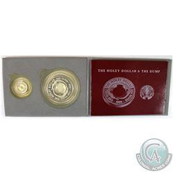 1989 Australia The Holey Dollar & The Dump 2-coin Fine Silver Set. The Holey Dollar is 1oz and the D