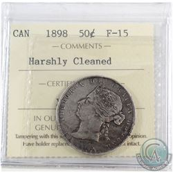 1898 Canada 50-cent ICCS Certified F-15 (Harshly Cleaned)