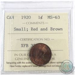 1920 Canada 1-cent Small ICCS Certified Red and Brown