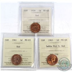 1959 Canada 1-cent ICCS Certified MS-65 Red, 1961 1-cent MS-65 Red & 1965 1-cent SmBds Ptd 5 MS-64 R