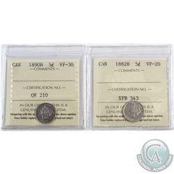1882H Canada 5-cent ICCS Certified VF-20 & 1890H 5-cent VF-30. 2pcs