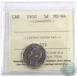 1950 Canada 5-cent ICCS Certified MS-64