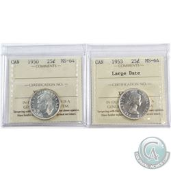 1950 & 1953 Large Date Canada 25-cent ICCS Certified MS-64. 2pcs