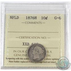 1876H Newfoundland 10-cent ICCS Certified G-6