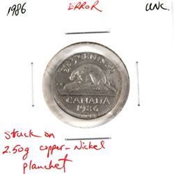 Canada 5-cent 1986 Struck on a Foreign Planchet 2.50g (Copper-Nickel) Uncirculated