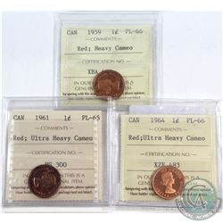 1959 Canada 1-cent ICCS Certified PL-66 Red Heavy Cameo, 1961 1-cent PL-65 Red Ultra Heavy Cameo & 1
