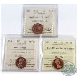 1965 Canada 1-cent LgeBds Blt 5 ICCS Certified PL-64 Red, 1967 1-cent SP-65 Red Cameo & 1969 1-cent