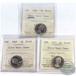1964 Canada 5-cent ICCS Certified PL-64 Ultra Heavy Cameo, 1969 5-cent PL-65 Ultra Heavy Cameo & 197
