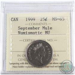 1999 Canada 25-cent September Mule ICCS Certified MS-65 Numismatic BU