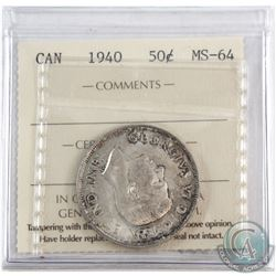 1940 Canada 50-cent ICCS Certified MS-64