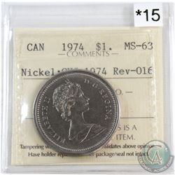 1974 Canada Nickel $1 CH# 1974 Rev-016 ICCS Certified MS-63