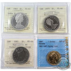 1965 Canada Silver $1 SmBds Blt 5 ICCS Certified PL-65 Cameo, 1975 Nickel $1 Attached Jewel PL-66 Ca