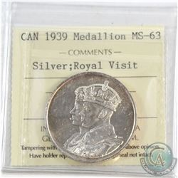 1939 Canada Silver Royal Visit Medallion ICCS Certified MS-63