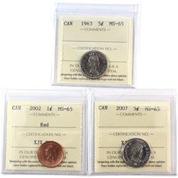 1963 Canada 5-cent, 2002 Canada 1-cent Red, & 2007 Canada 5-cent ICCS Certified MS-65. 3pcs.
